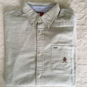 TOMMY HILFIGER Lt Green Oxford Dress Shirt Boys L